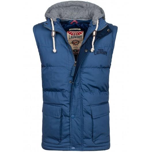 Modré pánske vesty s odnímateľnou kapucňou
