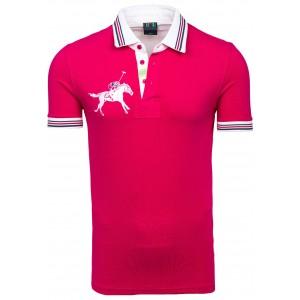 Ružová pánska polokošeľa s logom koňa