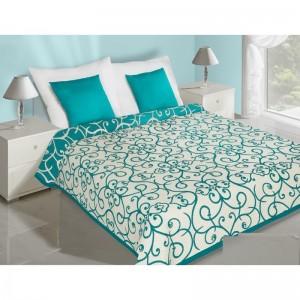 Tyrkysovo béžový obojstranný prehoz na posteľ