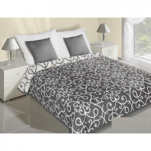 Obojstranný abstraktný prehoz na posteľ krémovo tmavosivej farby