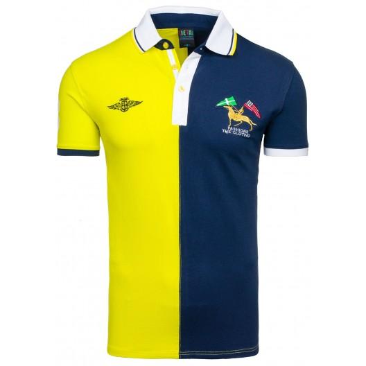 Pánske polo tričko granátovo žltej farby