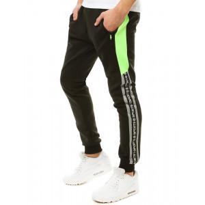 Športové pánske tepláky s bočným kontrastným pásom a vreckami na zips