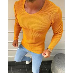 Pohodlný pánsky sveter v žltej farbe s okruhlým výstrihom