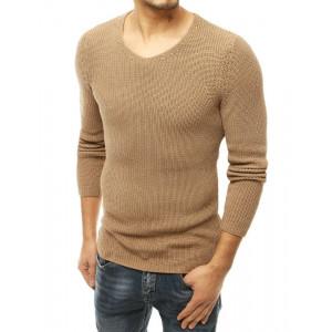 Štýlový pánsky hnedý sveter s okruhlým výstrihom