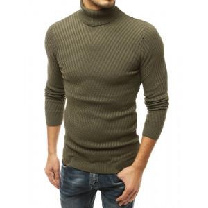 Krásny pánsky zeleny sveter s vysokým golierom
