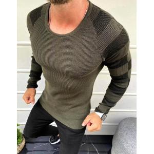 Krásny pánsky sveter v khaki farbe
