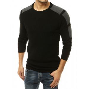 Pohodlný pánsky sveter v čierno sivej farbe s okrúhlym výstrihom