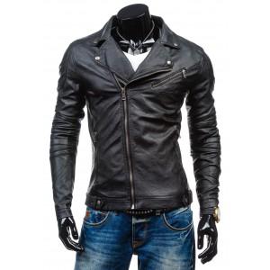 Kožená bunda pre mužov čiernej farby
