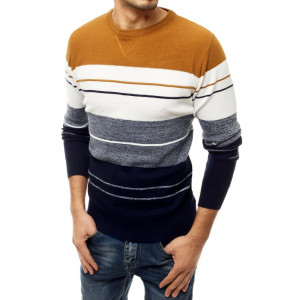 Pohodlný pánsky sveter s okrúhlym výstrihom vo farebnom kontraste