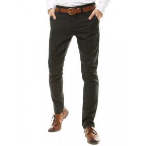 Elegantné pánske chinos nohavice s kockovaným vzorom v čierno sivej farbe