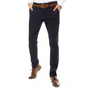 Pánske elegantné Chinos nohavice s kockovaným vzorom v tmavomodrej farbe