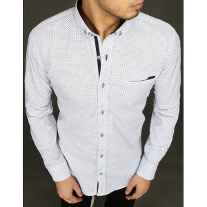 Pánska biela vzorovaná košeľa s dlhým rukávom a náprsným vreckom