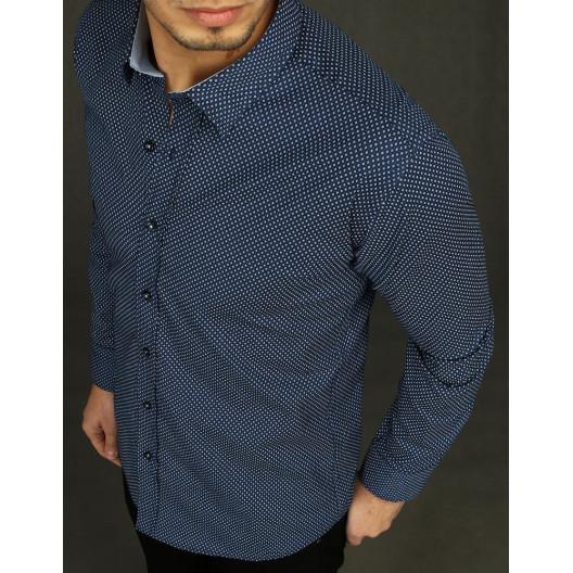 Originálna pánska tmavo modrá košeľa s dlhým rukávom