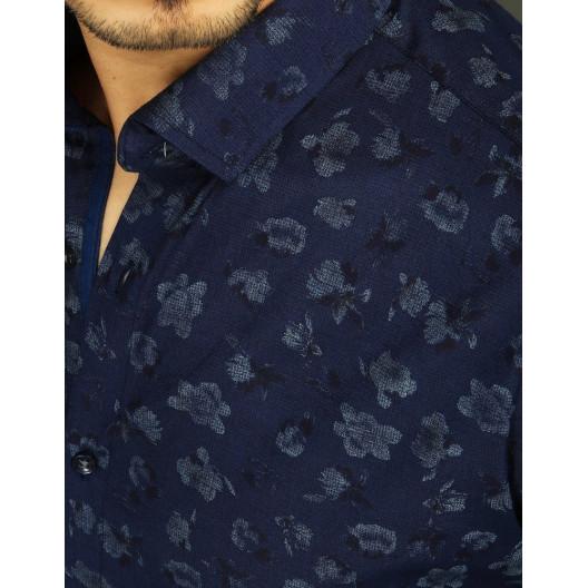 Šýlová pánska tmavo modrá košeľa s dlhým rukávom a motívom kvetov