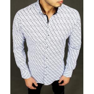 Pánska vzorovaná elegantná košeľa v bielej farbe