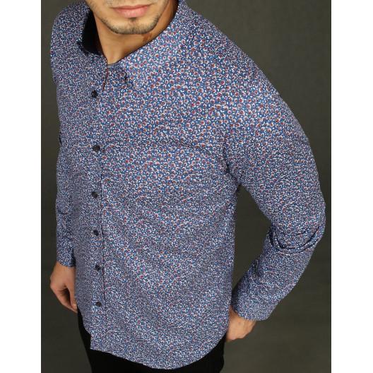 Elegantná pánska modrá vzorovaná košeľa s dlhým rukávom