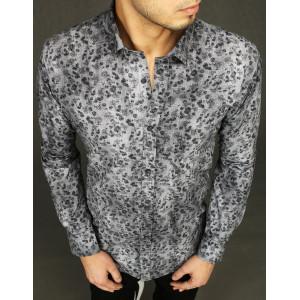 Pohodlná pánska košeľa so sivým vzorom