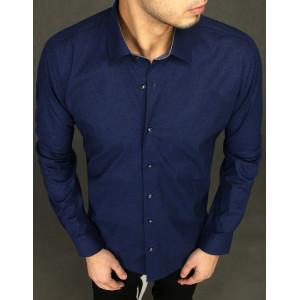 Pánska štýlová tmavomodrá košeľa so vzorom