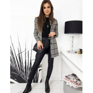Trendy dámsky hnedý jednoradový kabát v kohúťom vzorom