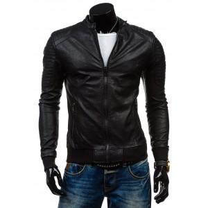 Kožené bundy v čiernej farbe pre mužov