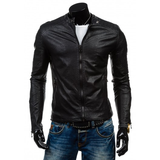 Moderná pánska koženková bunda čiernej farby