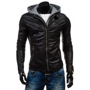 Štýlový pánska kožená bunda čiernej farby s kapucňou