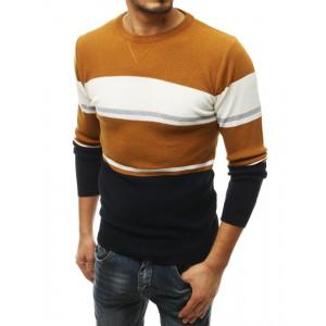 Štýlový pánsky farebný sveter s dlhým rukávom