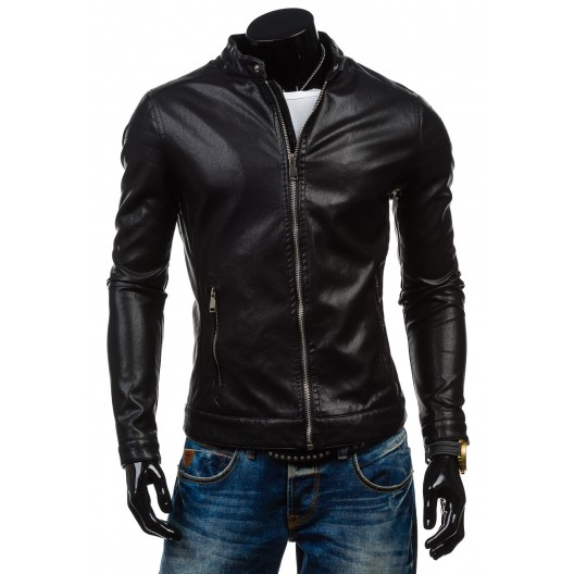 Pánska koženková bunda čiernej farby