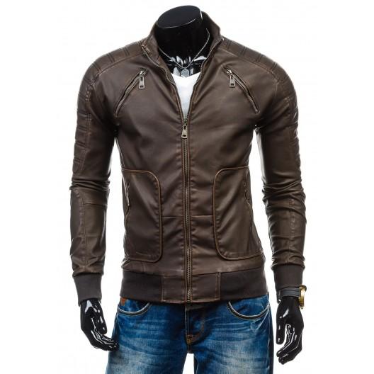 Kožená bunda pre mužov tmavo hnedej farby