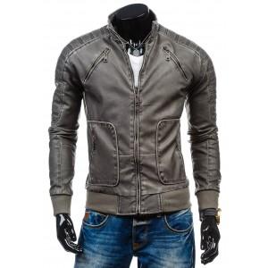 Pánska kožená bunda sivej farby s vreckami