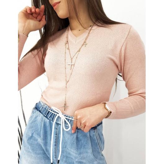Jednofarebný dámsky ružový sveter s výstrihom do V