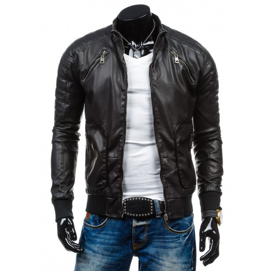 Moderná pánska kožená bunda čiernej farby