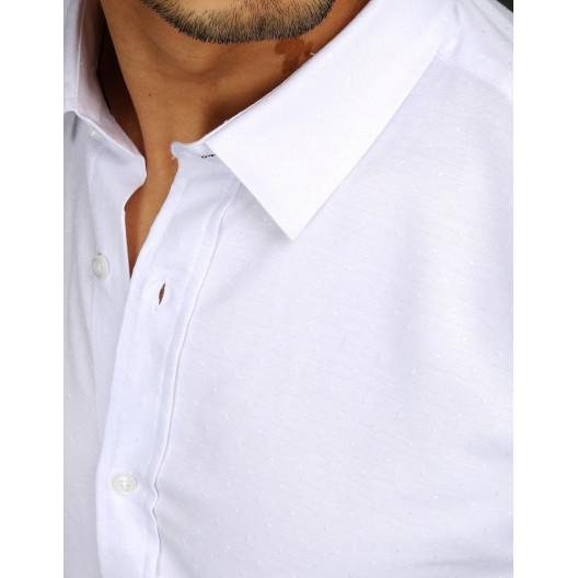Pánska biela spoločenská košeľa s dlhým rukávom so vzorom guličiek