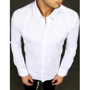Moderná pánska biela košeľa slim fit so vzorom pásikov