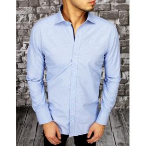 Pánska štýlová svetlomodrá košeľa s dlhým rukávom
