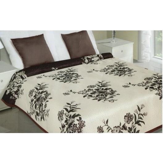 Obojstranný prehoz na posteľ krémovo hnedej farby