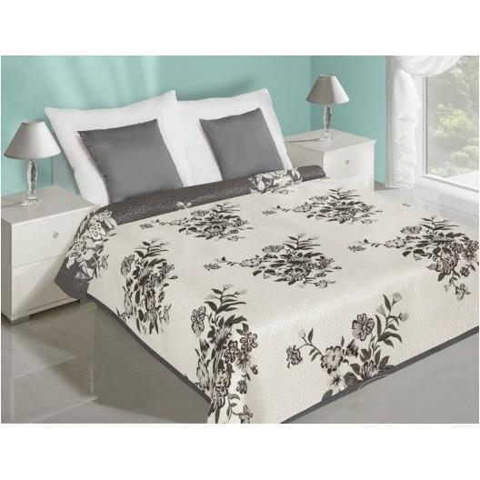 Obojstranný prehoz na manželskú posteľ bielej farby so sivými kvetmi