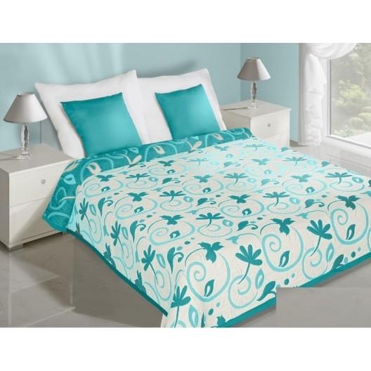 Obojstranný prehoz na posteľ tyrkysovo bielej farbys motívom kvetov