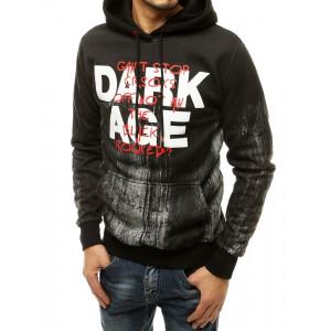 Čierna pánska designová street mikina s kapucňou a nápisom DARK AGE