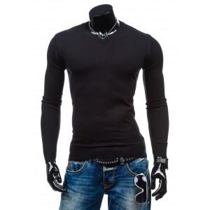 Moderné pánske svetre čiernej farby