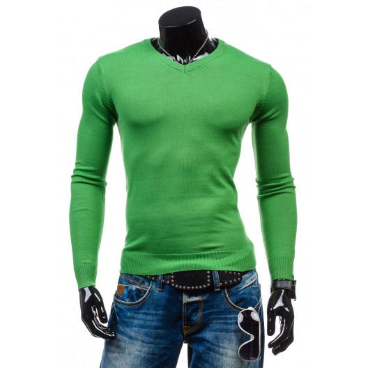 Pánsky sveter zelenej farby s výstrihom do V