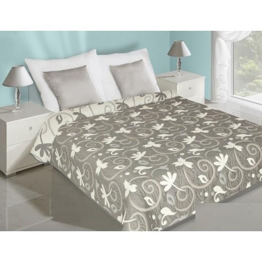 Sivo biely obojtranný prehoz na posteľ s motívom listov