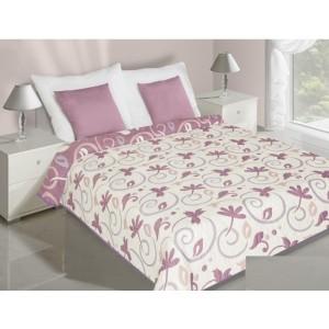 Prehoz na posteľ obojstranný ružovo krémovej farby