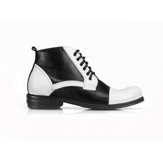 Kožené pánske topánky bieločiernej farby COMODO E SANO