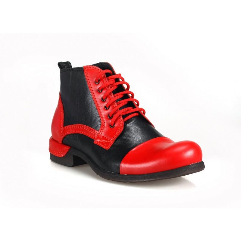 ff8ec646e201 Čierno červené talianske pánske topánky COMODO E SANO - fashionday.eu