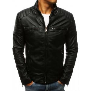 Krásna pánska kožená bunda v čiernej farbe s golierom