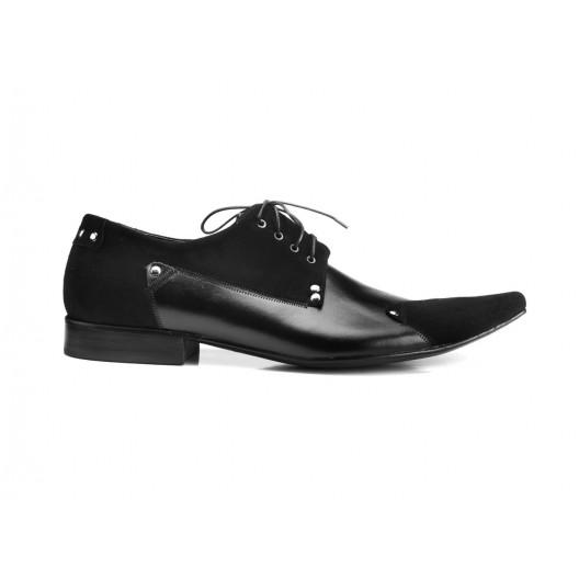 Kožené spoločenské pánske topánky čiernej farby