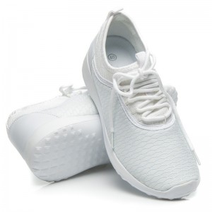 Biele športové tenisky so svetlomodrým vzorom
