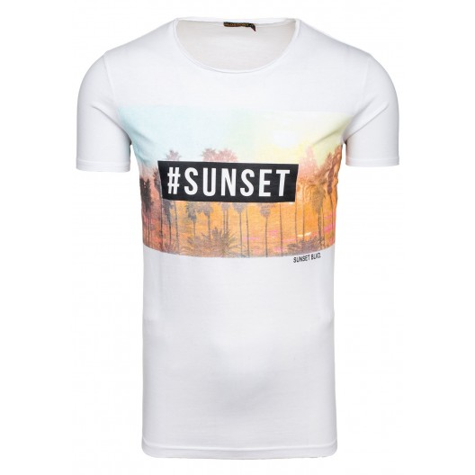 Biele pánske tričko s nápisom sunset