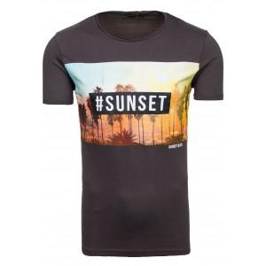 Moderné pánske tričko v sivej farbe